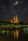 Catedral de Regensburg bajo claro de luna Foto de archivo libre de regalías