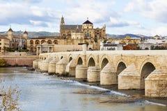 Catedral de Roman Bridge y de la mezquita de Córdoba en España Imagen de archivo