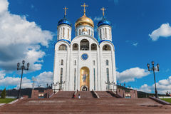 Catedral de Sakhalin com cúpulas foto de stock royalty free