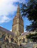 A catedral de Salisbúria com o céu azul no fundo foto de stock