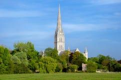 Catedral de Salisbúria, na estação de mola, Salisbúria, Inglaterra foto de stock royalty free