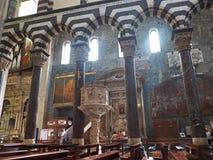 Catedral de San Lorenzo de Génova Camogli, Italia Fotos de archivo