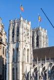 Catedral de San Miguel y de Gudula en Bruselas, Bélgica Foto de archivo