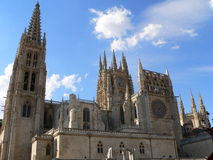 Catedral de Santa Maria, Burgos ( Spain ). Southern view of the gothic Cathedral in Burgos, Spain. Construction on Burgos' Gothic Cathedral began in 1221 and royalty free stock image