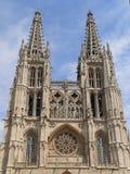 Catedral de Santa Maria, Burgos ( Spain ). Western view of the gothic Cathedral in Burgos, Spain. Construction of Burgos Gothic Cathedral began in 1221 and Stock Photos