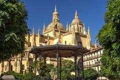 The Cathedral in Segovia, Spain. Catedral de Santa Maria de Segovia in the historic city of Segovia Castilla y Leon Spain with gazebo in foreground Stock Photo