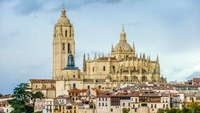 Catedral de Santa Maria de Segovia i staden av Segovia, Spanien Arkivfoto