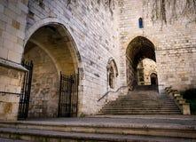 Catedral de Santander, fachada e escadaria secundária do acesso Fotos de Stock Royalty Free
