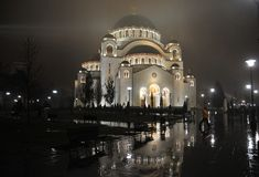 Catedral de Sava de Saint na noite foto de stock royalty free