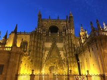 Catedral de Sevilla. At night in Seville Spain Royalty Free Stock Image