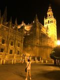 Catedral de Sevilla, Seville katedra, Hiszpania - noc zaświeca obraz royalty free
