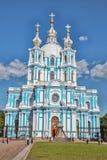 Catedral de Smolny - igreja ortodoxa do convento de Smolny, Pe do St foto de stock royalty free