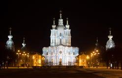Catedral de Smolny iluminada St Petersburg Fotografia de Stock