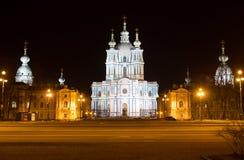 Catedral de Smolny iluminada St Petersburg Fotos de Stock