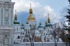 Catedral de Sophia de Saint em Kiev, Ucrânia Tempo do Natal Imagens de Stock Royalty Free