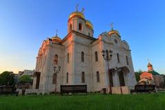Catedral de Spassky em Pyatigorsk no por do sol Rússia Fotos de Stock