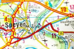 Catedral de Speyer no mapa, Speyer, Rhineland-palatinado fotos de stock royalty free