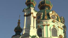 A catedral de St Andrew bonito em Kiev, Ucrânia, vídeo da metragem 4k filme