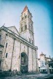 Catedral de St Lawrence em Trogir, filtro análogo fotografia de stock royalty free