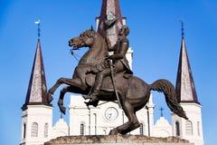 Catedral de St Louis da estátua de Nova Orleães Jackson imagens de stock