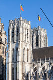 Catedral de St Michael e de Gudula em Bruxelas, Bélgica Foto de Stock
