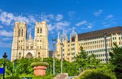 A catedral de St Michael e de St Gudula Fotografia de Stock