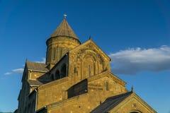 Catedral de Svetitskhoveli en la puesta del sol Mtskheta, Georgia Imágenes de archivo libres de regalías