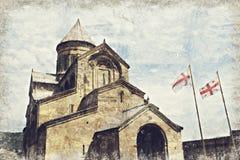 Catedral de Svetitskhoveli en Mtskheta, Georgia Digitaces Art Impas stock de ilustración