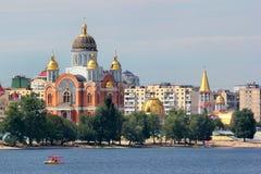 Catedral de Sviato-Pokrovskyi em Kyiv, Ucrânia imagem de stock royalty free