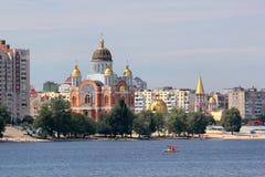 Catedral de Sviato-Pokrovskyi em Kyiv, Ucrânia imagem de stock