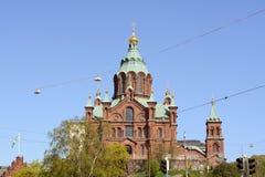 Catedral de Uspenski, pasando por alto la ciudad de Helsinki Fotografía de archivo