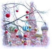 Catedral de Vasily bendecido en la Navidad 2017 Foto de archivo libre de regalías