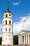 Catedral de Vilnius e torre da torre de sino Fotos de Stock Royalty Free