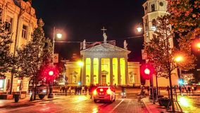 Catedral de Vilnius Lituânia, timelapse video estoque