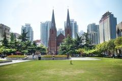 Catedral de Xujiahui, uma da maioria de catedral católica famosa em shanghai, China Imagens de Stock