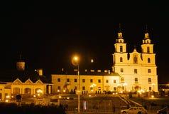 Catedral del Espíritu Santo en la noche en Minsk, Bielorrusia fotografía de archivo libre de regalías