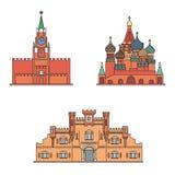 Catedral del ` s de la albahaca del St, torre de Spasskaya de la Moscú el Kremlin, edificio de la fortaleza de Brest Ilustración  Imágenes de archivo libres de regalías