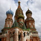 Catedral del ` s de la albahaca del St en Plaza Roja del ` s de Moscú imagen de archivo