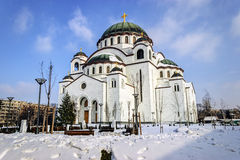 Catedral del santo Sava en el invierno imagen de archivo libre de regalías