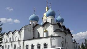 A catedral do aviso do Kremlin de Kazan é a primeira igreja ortodoxa do Kremlin de Kazan O Kremlin de Kazan é video estoque
