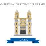 Catedral do histo do St Vincent de Paul Tunisia Flat ilustração stock