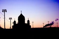 Catedral do redentor de Cristo em Moscou Pôr do sol roxo Fotografia de Stock Royalty Free