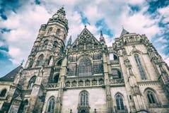 Catedral do St Elisabeth em Kosice, Eslováquia, filtro análogo fotografia de stock