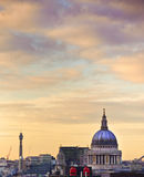 Catedral do St Paul em Londres no por do sol Foto de Stock