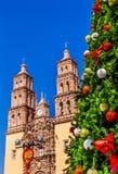 Catedral Dolores Hidalgo Mexico de Parroquia del árbol de navidad Fotografía de archivo