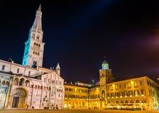 Catedral e câmara municipal de Modena Fotografia de Stock Royalty Free