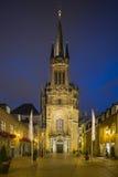 Catedral e Domhof de Aix-la-Chapelle na noite Imagens de Stock