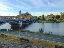 Catedral e rio de Salamanca imagens de stock