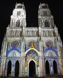 Catedral em Orleans (France) na noite fotos de stock
