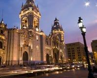 Catedral en alcalde Lima Perú de la plaza de plaza de armas Imagenes de archivo